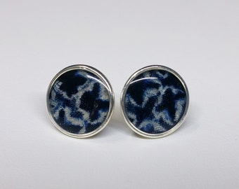 Sterling silver stud earrings with indigo blue and white colored shibori kimono fabric