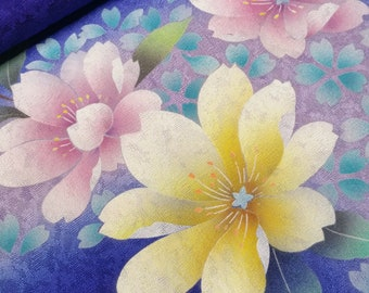 Deep indigo violet silk furisode kimono body fabric panel - falling sakura cherry blossoms