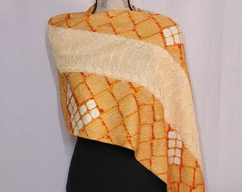 Vintage kimono wrap shawl - orange shibori and lace