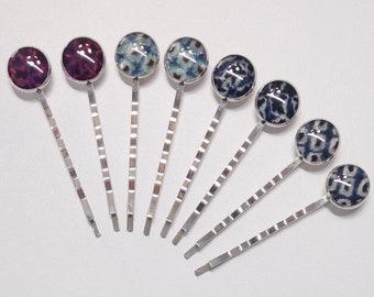 Vintage shibori kimono fabric silver toned bobby hair pin set