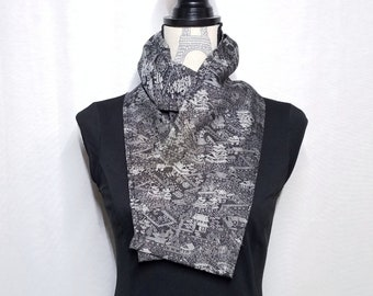 Silk and wool scarf created with vintage kimono fabric - black and white village scene