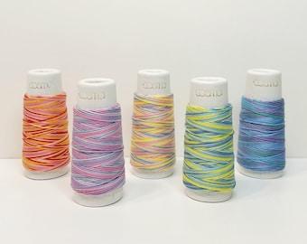 Lecien Cosmo Hidamari sashiko thread - multicolor variegated hues - 30 meter skein