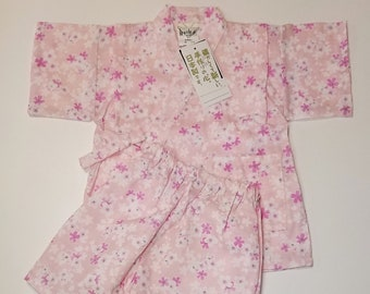 Girl's new, cotton jinbei - pale pink with pink and white sakura cherry blossoms