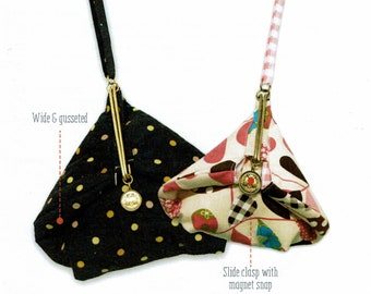 QH Textiles sewing pattern and instructions for Slide Clasp Purses (B) - Large and Small sizes