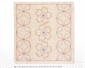 Olympus sashiko pre-printed wash-away pattern kit #243- Sakura & Kaku-shippo on pale pink cotton