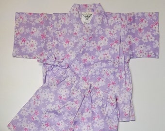 Girl's new, cotton jinbei - lavender with pink and white sakura cherry blossoms