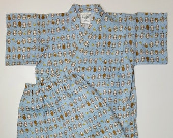 Boy's new, cotton jinbei - light blue with monkeys and stars