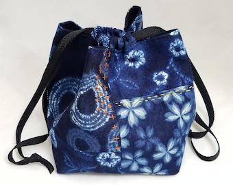 Komebukuro patchwork boro pouch featuring Kokka faux shibori indigo and white cotton