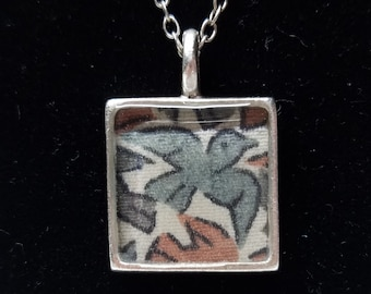 Silver square pendant necklace with blue and pink colored swallow bird kimono fabric
