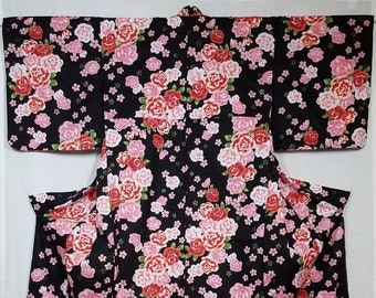 Women's new, cotton yukata - pink ume plum blossoms, rose and nadeshiko