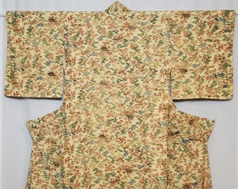 Women's vintage, komon kimono - creme colored crepe silk with printed foliage, floral and fan design