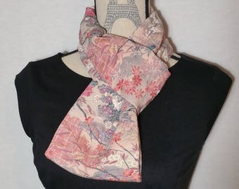 Infinity loop Silk scarf created with vintage chirimen crepe kimono fabric - pale pink garden scene