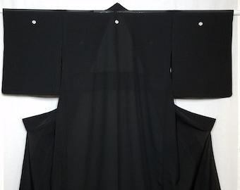 Women's unused, vintage, sheer silk ro summer kimono - black with mon emblems