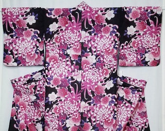 Women's new, cotton yukata - pink, purple and black sakura and kiku