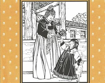 Folkware sewing pattern #141 Korean Han-Bok - Misses XS to XL - Child's 4-14.