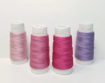 Lecien Cosmo Hidamari sashiko thread - Pink and Purple hued solid colors - 30 meter skein