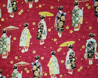 Cosmo Japan Dobby cotton - Geisha in kimono and sakura cherry blossoms over red background