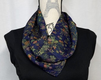 Infinity loop silk scarf created with vintage kimono fabric - muted jewel toned floral chirimen crepe