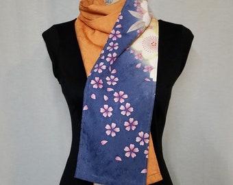 Silk scarf created with vintage kimono fabric - sakura cherry blossoms on orange, blue and yellow-green
