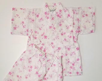 Girl's new, cotton jinbei - white with pink  sakura cherry blossoms - size 90 (24 months)