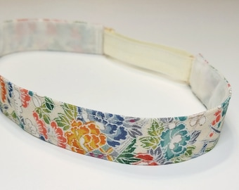 Adjustable non-slip Headband hairband made with vintage silk kimono fabric -  floral and foliage