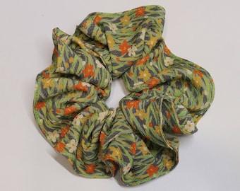 Silk hair scrunchie tie made with vintage kimono silk - spring floral