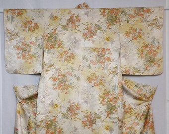 Women's vintage kimono - rinzu damask floral silk with golden bokashi shading