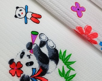Vintage, children's waffle weave cotton yukata fabric with panda bears and birds  - by the yard