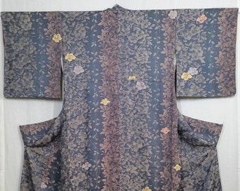 Women's vintage, unused, silk kimono - Gray blue rinzu damask with floral ivy pattern