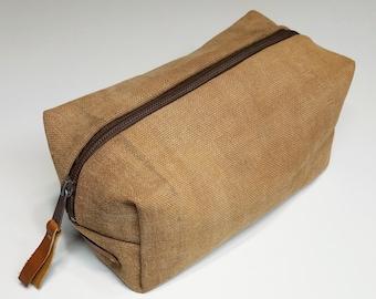 Men's dopp travel bag created with antique sakabukuro kakishibu dyed canvas