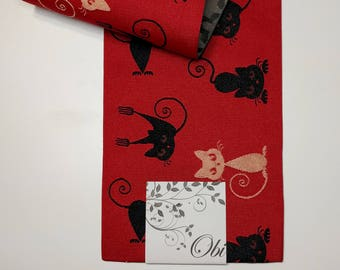 New red with black cats Hanhaba yukata obi belt