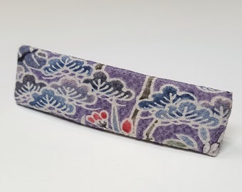 Vintage kimono fabric french hair clip barrette - lavender gray floral