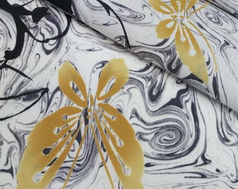 Black and white suminagashi marble swirl cotton yukata fabric - by the yard - orange-tan butterflies