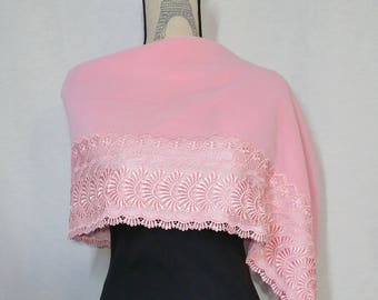 Vintage, unused, pink velvet and floral lace kimono shawl wrap