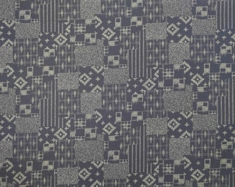 Japanese import New indigo colored cotton quilting fabric  - faux boro patchwork design