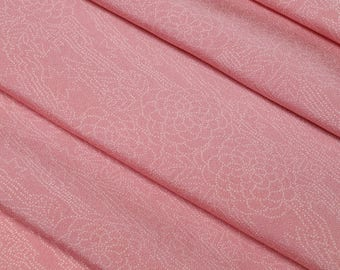 Silk crepe kimono fabric -  pink mum with flowing stream - by the yard