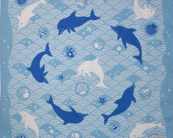 Japanese cotton furoshiki wrapping cloth -  swimming dolphins with waves and seashells