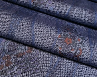 Oshima Tsumugi Silk Kimono Fabric with wave and floral design - by the yard