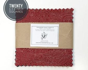 Twenty precut 5 inch squares of Sevenberry Nara Homespun cotton