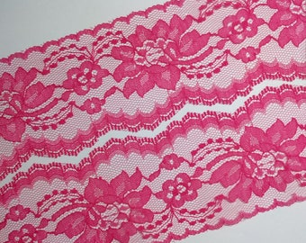 Vintage 3 inch wide bright pink fuschia floral peony lace trim- by the yard
