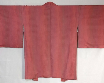Women's Silk Haori kimono jacket - pink mauve wavy stripe with woven pattern - unused