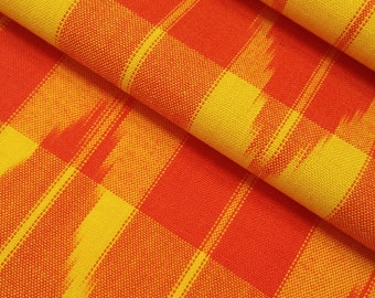 Vintage wool kimono fabric- red-orange and yellow woven arrow pattern- by the yard
