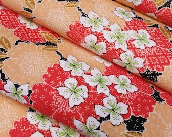 Vintage wool kimono fabric with red-orange cherry blossoms  - by the yard