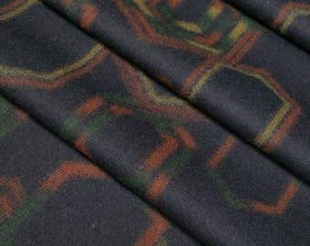 Vintage, double wide, black wool flannel kimono fabric with tortoise shell kikko pattern - by the yard