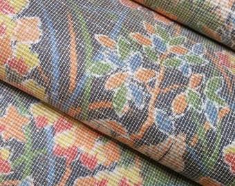 Oshima Tsumugi pongee Silk Kimono Fabric with trees, orange flowers and foliage - by the yard