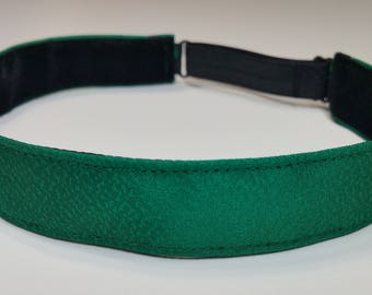 Adjustable non-slip Headband hairband made with vintage silk kimono fabric -emerald green