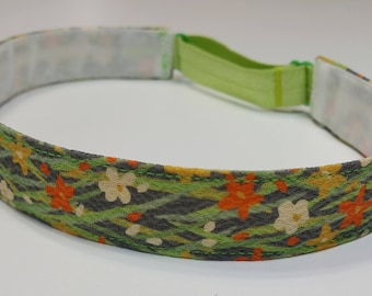 Adjustable non-slip Headband hairband made with vintage silk kimono fabric - spring floral