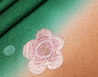 Silk Furisode kimono fabric panel - pine green to pink-orange with embroidered plum blossoms