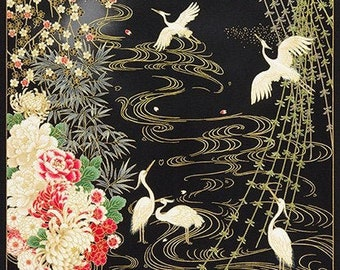Imperial Collection by Studio RK - Cranes in water panel Onyx Colorstory over black