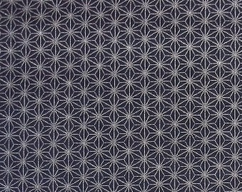 Japanese import New indigo colored cotton quilting fabric  - sashiko asanoha hemp leaf